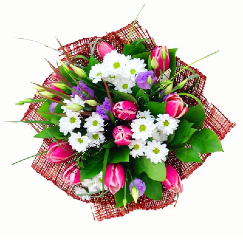 Букет из 47 тюльпанов и хризантем, одним